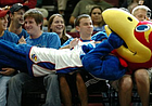 Big Jay stretches himself across the front row of Jayhawk fans during a timeout in the first half of a Nov. 24, 2006, game against the Cardinals at the Orleans Arena in Las Vegas.