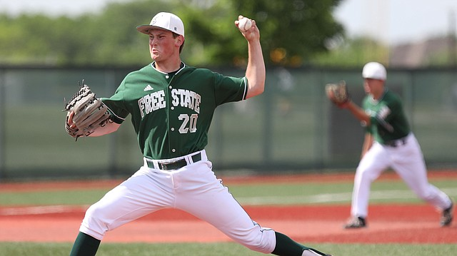 Free State pitcher Jake Baker delivers to the plate during the second inning against Wichita South on Wednesday, May 16, 2018 at Free State High School.