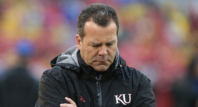 In this file photo from Oct. 14, 2017, Kansas Athletic Director Sheahon Zenger shows frustration after a penalty is called against the Jayhawks during the second quarter of a football game in Ames, Iowa.