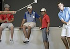 KU senior golfer Daniel Hudson, right, takes some chip shots inside the new KU Golf facility at the Jayhawk Club. Pictured from left are team members Harry Hillier, his brother Charlie Hillier, Andy Spencer, Ben Sigel and Hudson.