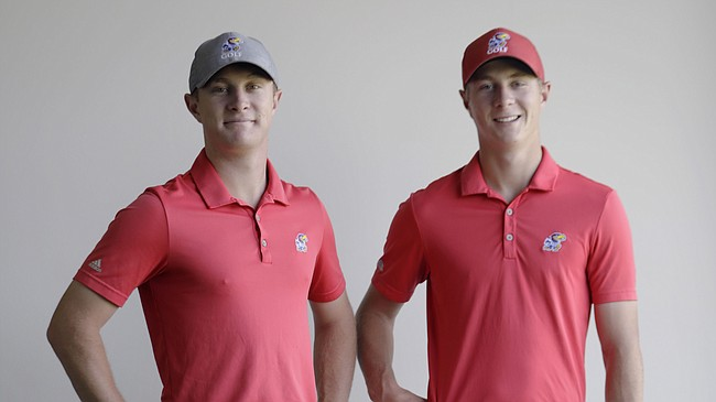Brothers Charlie Hillier, junior, left, and freshman Harry Hillier will compete with the KU men's golf team this weekend during the NCAA Men's Golf Championships, which begin Friday in Stillwater, Okla.