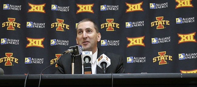 Iowa State Athletic Director Jamie Pollard speaks during a news conference, Wednesday, April 22, 2015, in Ames, Iowa.