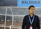 Maldives soccer coach Istvan Urbanyi of Hungary watches players warm up before a match against Nepal at the South Asian Football Federation or SAFF Championship, in New Delhi, India, Friday, Dec. 2, 2011. (AP Photo/Saurabh Das)