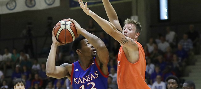 Kansas wing K.J. Lawson looks to make a post move in an exhibition game between KU and Italy All Star A2, in Seregno, near Milan, Italy, Sunday, Aug. 6, 2017.