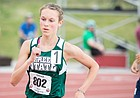 Free State's Emily Venters (802) runs the 1600-meter run at the Track and Field State Championship meet on Saturday, May 28, 2017 at Cessna Stadium. Venters won the Class 6A 1600 meter run with a time of 4:59.