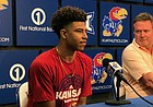 University of Kansas freshman guard Quentin Grimes and basketball coach Bill Self discuss their recent involvement with USA Basketball during a press conference on June 19, 2018, inside Allen Fieldhouse.