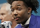 Charlotte Hornets draft pick Devonte' Graham speaks to the media during a news conference for the NBA basketball team in Charlotte, N.C., Friday, June 22, 2018.