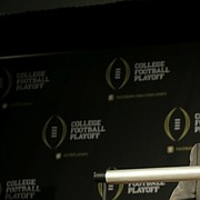 Former Arkansas athletic director Jeff Long, who once served as the chairman of College Football Playoff selection committee, responds to questions during a news conference on Wednesday, Oct. 16, 2013, in Irving, Texas.