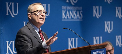 New University of Kansas athletic director Jeff Long addresses those gathered for his introductory news conference on Wednesday, July 11, 2018, at the Lied Center Pavilion.