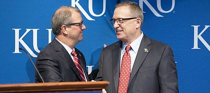 New University of Kansas athletic director Jeff Long during an introductory news conference on Wednesday, July 11, 2018 at the Lied Center Pavilion.
