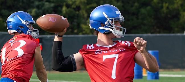 Kansas quarterback Peyton Bender throws during the Jayhawks' second practice of preseason camp, on Aug. 4, 2018.