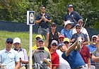 Former KU All-American Ryan Vermeer watches his tee shot on No. 6 at Bellerive in St. Louis, site of the 100th PGA Championship, head toward the green during Wednesday practice round. Vermeer tees off No. 10 at 12:59 p.m. with John Daly and Paul Broadhurst. (Photo by Tom Keegan)