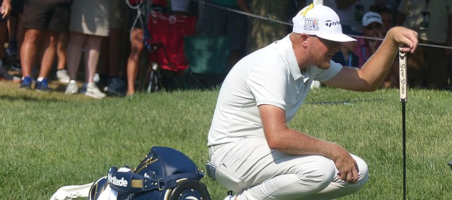 Former KU All-American golfer Ryan Vermeer gets a read on his putt Friday, Aug. 13, 2018 on the fifth green at Bellerive Country Club in St. Louis, site of the 100th PGA Championship