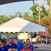 University of Kansas athletic director Jeff Long addresses fans at the KU Kickoff at Corinth Square, on Aug. 17, 2018, in Prairie Village.