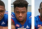 Headed into the 2018 season opener, three Kansas running backs are in contention to start, and all three figure to be a big part of the Jayhawks' game plan this fall. Pictured, from left, are junior Khalil Herbert, sophomore Dom Williams and freshman Pooka Williams.