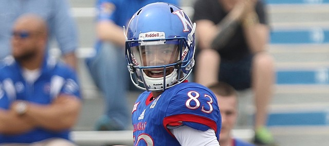 Team KU wide receiver Kwamie Lassiter II (83) trots into the end zone for a touchdown during the third quarter of the 2017 Spring Game on Saturday, April 15 at Memorial Stadium.