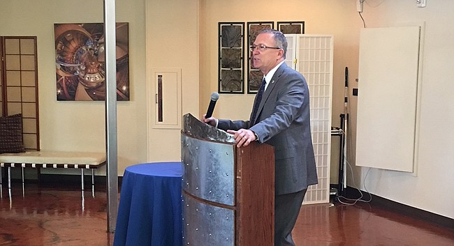 Jeff Long, athletic director at the University of Kansas, speaks at The Chamber luncheon at Arterra Event Gallery on Friday, Sept. 14, 2018.