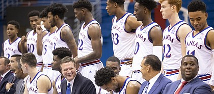Kansas head coach Bill Self and some of the players get their laughs out before the team photo on Media Day, Wednesday, Oct. 10, 2018 at Allen Fieldhouse.