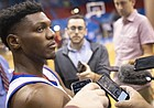 Kansas forward Silvio De Sousa talks with media members on Media Day, Wednesday, Oct. 10, 2018 at Allen Fieldhouse.