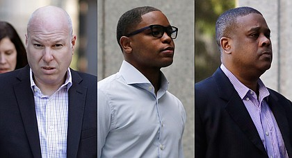 From left, former Adidas executive James Gatto, former sports agent Christian Dawkins and former amateur basketball league director Merl Code arrive at federal court in New York in these photos from October 2018.    (AP Photo/Mark Lennihan)