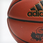 A University of Kansas-branded Adidas basketball is pictured in March 2018.