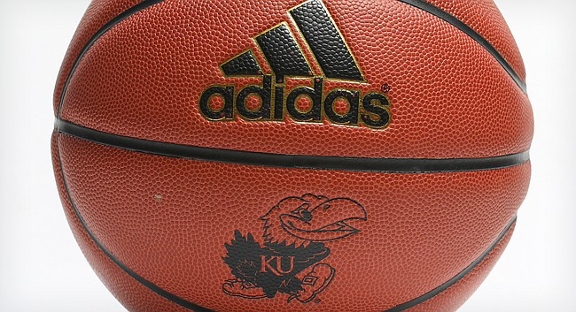 A University of Kansas-branded Adidas basketball is pictured in March 2018. 6768a71b8