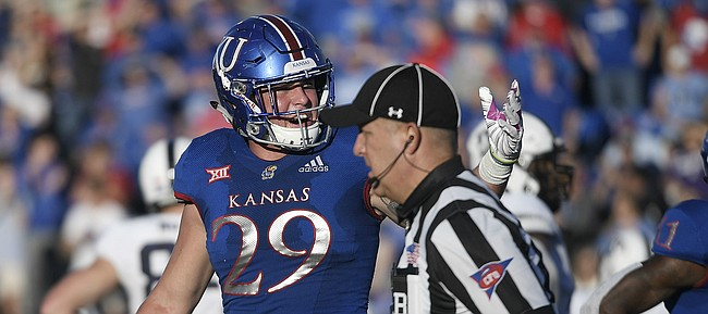 Kansas linebacker Joe Dineen Jr. calls out to the ref after pleading for a fumble call late in the game versus TCU, on Oct. 27, 2018.