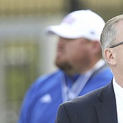 Kansas athletic director Jeff Long looks up into the stands late in the fourth quarter of the Jayhawks' 27-3 loss to Iowa State, Saturday, Nov. 3, 2018 at Memorial Stadium.