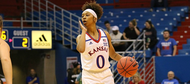 Kansas senior guard Christalah Lyons runs the floor in the first half in an exhibiton against Washburn Sunday, Nov. 4, 2018 at Allen Fieldhouse.