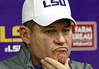 FILE - LSU head coach Les Miles ponders a reporter's question's following an NCAA college football game against Mississippi in Oxford, Miss., Saturday, Nov. 21, 2015. Mississippi won 38-17. (AP Photo/Rogelio V. Solis)