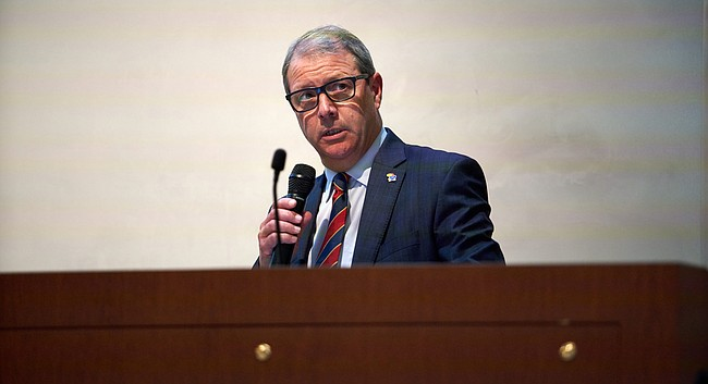 University of Kansas Chancellor Douglas Girod speaks during a KU forum about budget cuts at Eaton Hall in this Monday, Aug. 27, 2018, file photo.