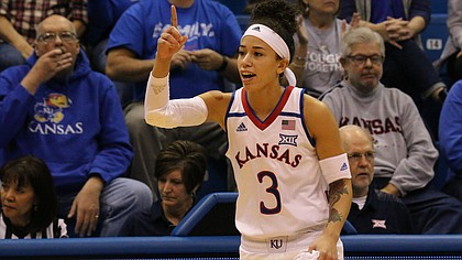 Sixth-year senior Jessica Washington checks in for the first time this season on Sunday during a game against Alabama A&M At Allen Fieldhouse. Kansas won the game, 65-54.