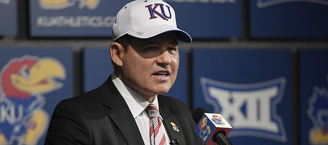 Newly hired University of Kansas football coach Les Miles speaks to the media Sunday, Nov. 18, 2018, at Hadl Auditorium.