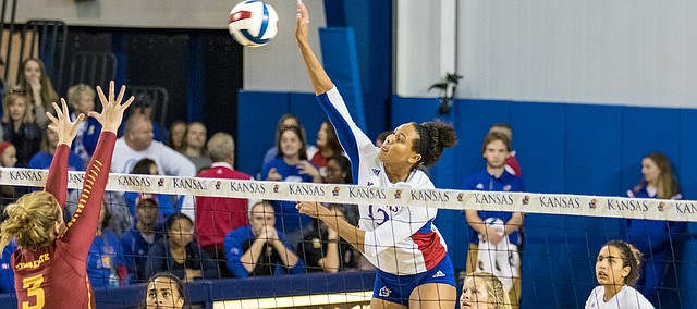Kansas redshirt freshman outside hitter Ashley Smith jumps for a spike against Iowa State on Saturday, Nov. 19, 2016 at Horejsi Center. The Jayhawks won in five sets, clinching a Big 12 title.