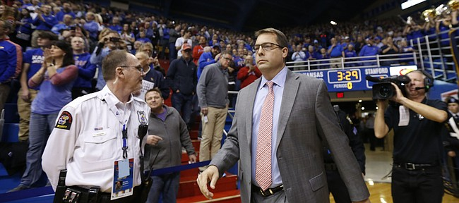 Former Kansas guard and Stanford head coach Jerod Haase enters the Fieldhouse prior to tipoff.