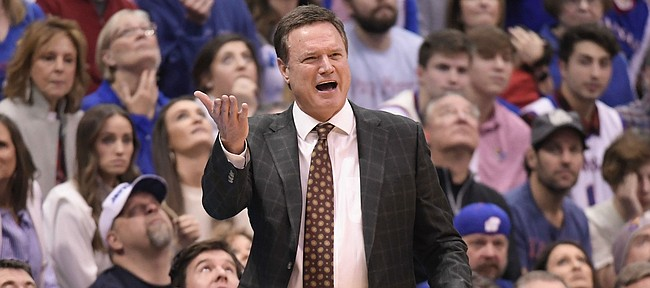 Kansas coach Bill Self disagreed with a call Saturday against Eastern Michigan.