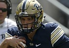 FILE — Former Pittsburgh quarterback Thomas MacVittie (7) plays in the annual Spring NCAA football scrimmage, Saturday, April 15, 2017, in Pittsburgh. MacVittie, who played the 2018 season at Mesa Community College (Ariz.) announced on Dec. 11, 2018, his plans to sign with the University of Kansas. (AP Photo/Keith Srakocic)