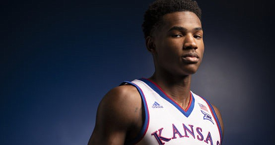 Kansas guard Ochai Agbaji is pictured on Media Day, Wednesday, Oct. 10, 2018 at Allen Fieldhouse.