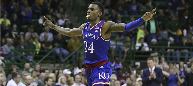 Kansas guard LaGerald Vick (24) reacts to his score against Baylor in the second half of an NCAA college basketball game, Saturday, Jan. 12, 2019, in Waco, Texas.