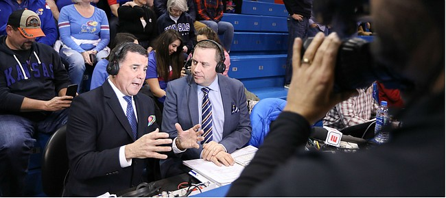 ESPN broadcaster Fran Fraschilla delivers his pregame breakdown, Monday, Jan. 21, 2019 at Allen Fieldhouse.