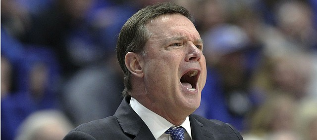 Kansas coach Bill Self yells to his team during the second half of an NCAA college basketball game against Kentucky in Lexington, Ky., Saturday, Jan. 26, 2019. Kentucky won 71-63. (AP Photo/James Crisp)