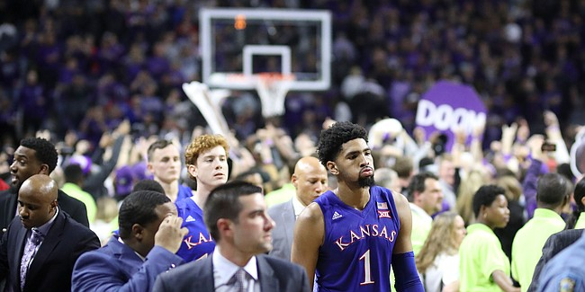 Kansas forward Dedric Lawson (1) walks off the court as KSU fans celebrate the Wildcats' 74-67 win over the Jayhawks on Tuesday, Feb. 5, 2019 at Bramlage Coliseum.