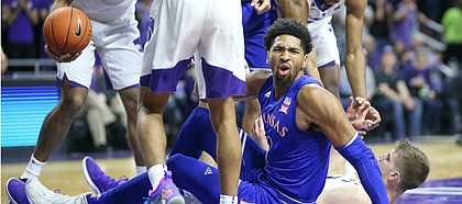 Kansas forward Dedric Lawson (1) reacts after being called for a charge during the first half, Tuesday, Feb. 5, 2019 at Bramlage Coliseum.