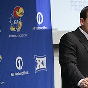 New Kansas head football coach Les Miles talks about his first recruiting class during his National Signing Day press conference on Wednesday, Feb. 6, 2019 in Mrkonic Auditorium.