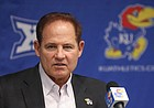 New Kansas head football coach Les Miles talks about his first recruiting class of the program during his Signing Day press conference on Wednesday, Feb. 6, 2019 in Mrkonic Auditorium.