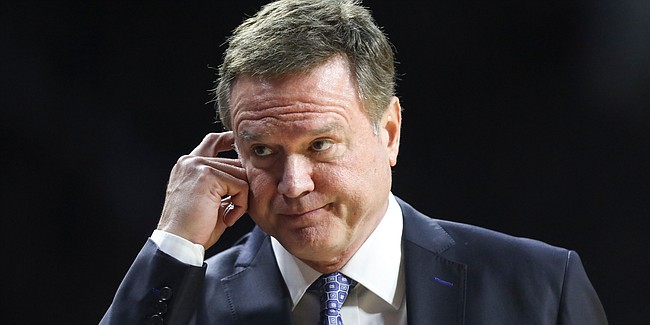Kansas head coach Bill Self reacts after a late turnover by the Jayhawks, Tuesday, Feb. 5, 2019 at Bramlage Coliseum.