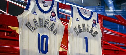 Special edition Harlem Renaissance uniforms for Kansas men's and women's basketball teams.
