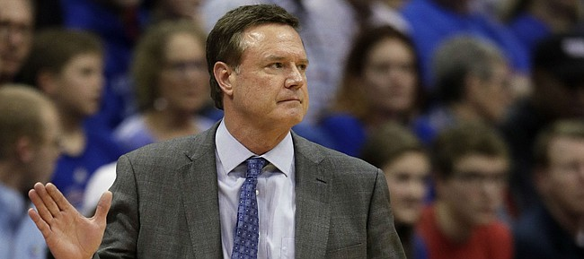 Kansas head coach Bill Self during the second half of an NCAA college basketball game against Texas Tech in Lawrence, Kan., Saturday, Feb. 2, 2019. Kansas defeated Texas Tech 79-63. (AP Photo/Orlin Wagner)