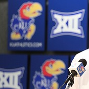 Kansas guard Devon Dotson talks with media members during a press conference following the NCAA selection show on Sunday, March 17, 2019 at Allen Fieldhouse. The Jayhawks will play the Huskies in the opening round on Thursday in Salt Lake City, Utah.