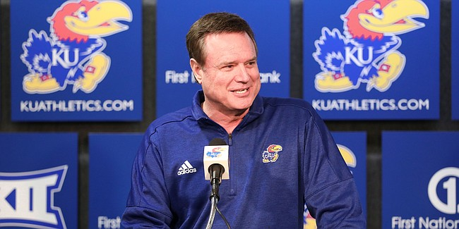 Kansas head coach Bill Self talks with media members during a press conference following the NCAA selection show on Sunday, March 17, 2019 at Allen Fieldhouse. The Jayhawks will play the Huskies in the opening round on Thursday in Salt Lake City, Utah.